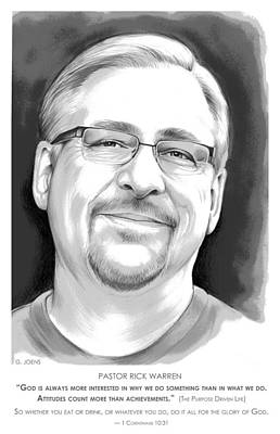 Digital Art - Pastor Rick Warren by Greg Joens