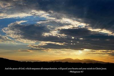 Photograph - God's Peaceful Sunset With Philippians 4-7 Scripture by Matt Harang