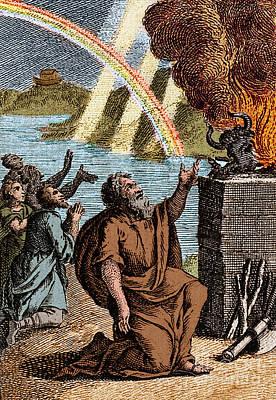 Gods Rainbow Answers Noahs Sacrifice Art Print by Science Source