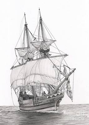 Whaling Drawing - Godspeed by Julie Bockes
