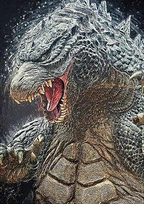 Poster Digital Art - Godzilla - King Of Monsters by Taylan Apukovska