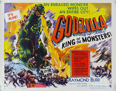 Godzilla King Of The Monsters An Enraged Monster Wipes Out An Entire City Vintage Movie Poster Art Print