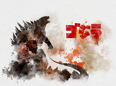 Icons Mixed Media - Godzilla by Rebecca Jenkins