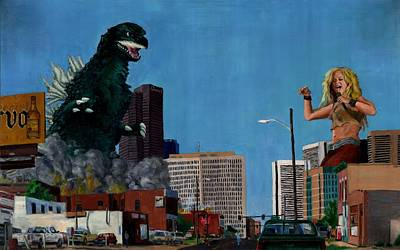 Shakira Painting - Godzilla Versus Shakira by Thomas Weeks