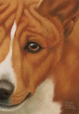 Dog Pastel - Goggie Basenji by Karen Coombes