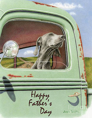 Weimaraner Drawing - Goin' For A Ride- Happy Father's Day Cards by Sarah Batalka