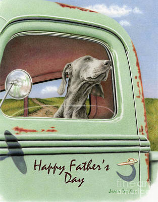 Weimaraner Painting - Goin' For A Ride- Happy Father's Day Cards2 by Sarah Batalka