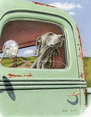 Weimaraner Painting - Goin' For A Ride by Sarah Batalka