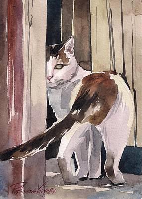 Calico Cat Painting - Going Away by Yuliya Podlinnova