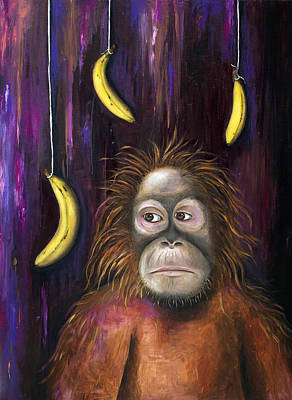 Orangutan Painting - Going Bananas by Leah Saulnier The Painting Maniac
