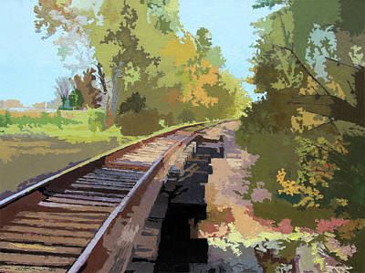 Painting - Going Down The Railroad Track by John Lautermilch