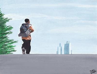 Walking Down The Street Painting - Going Downtown by Jamie Melton