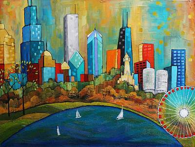 Chicago Skyline Mixed Media - In The City by Peggy Davis