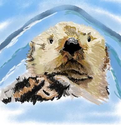 Otter Digital Art - Going For A Swim by Bob Donner