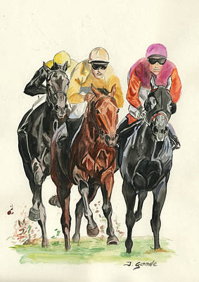 Race Horse Painting - Going For It by Jana Goode