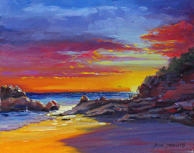 Acrylic Seascape Painting - Going Going Gone by Laura Lee Zanghetti