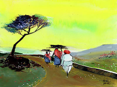 Painting - Going Home by Anil Nene