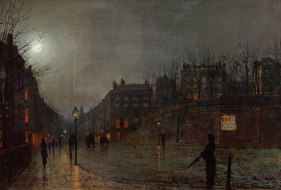 Urban Street Painting - Going Home At Dusk by John Atkinson Grimshaw