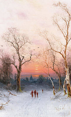 Snowfall Painting - Going Home by Nils Hans Christiansen