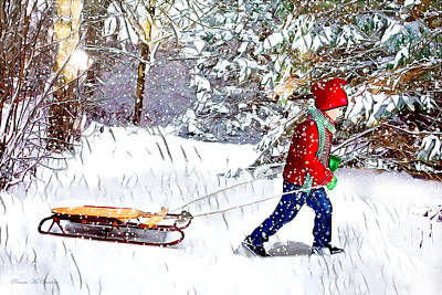 Digital Art - Going Sledding by Pennie McCracken