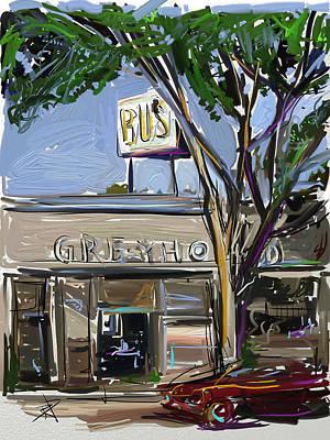 Greyhound Digital Art - Going Somewhere by Russell Pierce