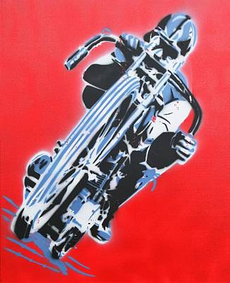Motorcyle Painting - Going The Distance by Tim Blackburn