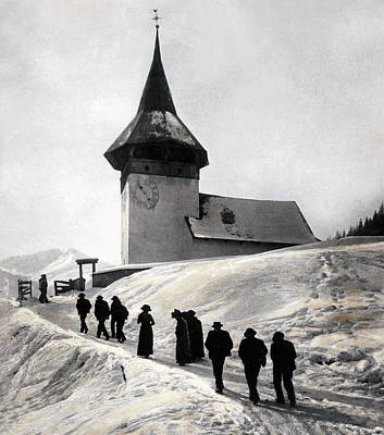Congregation Photograph - Going To Church On Christmas Morning by Swiss School