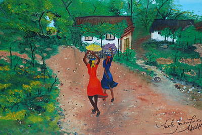 Art Print featuring the painting Going To The Marketplace 1 by Nicole Jean-Louis