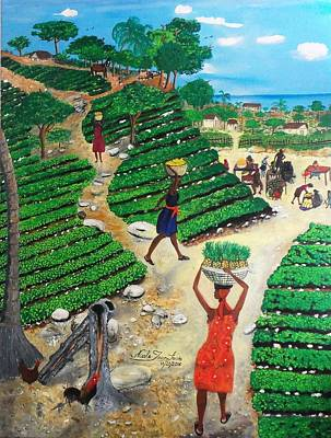Taino Painting - Going To The Marketplace #4 -  Walking Through The Terraces by Nicole Jean-Louis