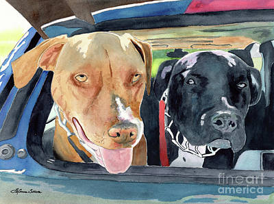 Painting - Going To The Park, Dogs, Pitbulls, Labradors by LeAnne Sowa