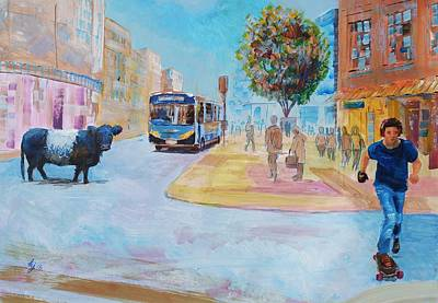 Painting - Going To Town - Belted Galloway Cow Walking Through Exeter City High Street by Mike Jory