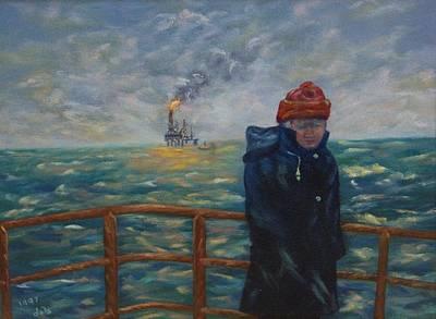 Sea Platform Painting - Going To Work by Douglas Ann Slusher