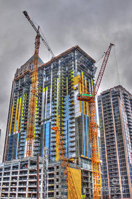 Tower Crane Photograph - Going Up Atlanta Construction Crane Art by Reid Callaway