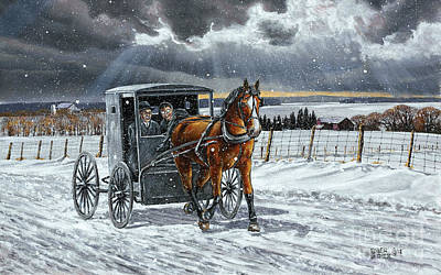 Horse And Buggy Painting - Going Visiting by Roger Witmer