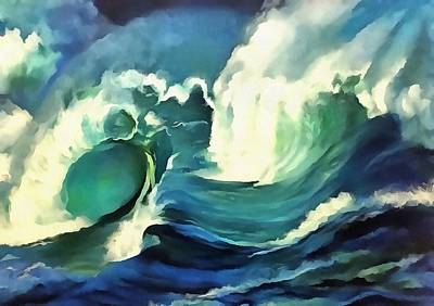 Painting - Going With The Flow Ocean Waves by Tracey Harrington-Simpson