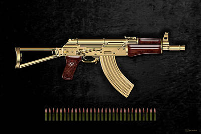 Gold A K S-74 U Assault Rifle With 5.45x39 Rounds Over Black Velvet Original by Serge Averbukh