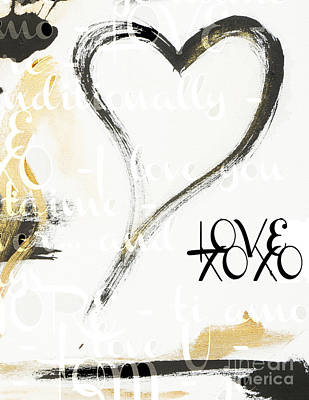 Gold And Black Artsy Heart Xoxo Art Print by WALL ART and HOME DECOR