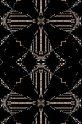 Digital Art - Gold And Black With Silver Design Abstract by Sheila Mcdonald
