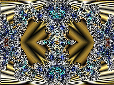 Gold And Blue Series Number Five Art Print by Mark Lopez