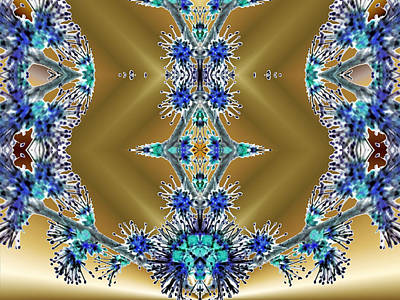 Indiana Images Digital Art - Gold And Blue Series Number Three by Mark Lopez