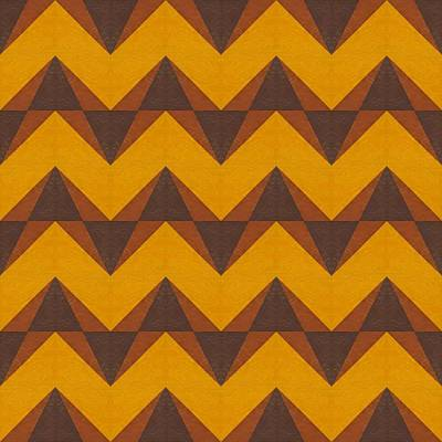 Op Art Painting - Gold And Brown Chevron Collage  by Michelle Calkins