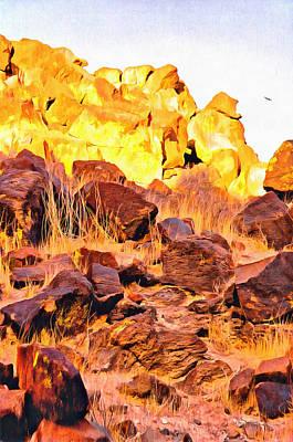 Digital Art - Gold And Chocolate Volcanic Rocks In Desert by Viktor Savchenko