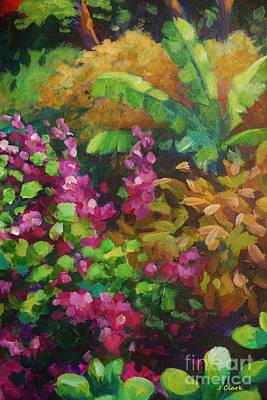 Caribbean Painting - Gold And Pink Garden Scene by John Clark