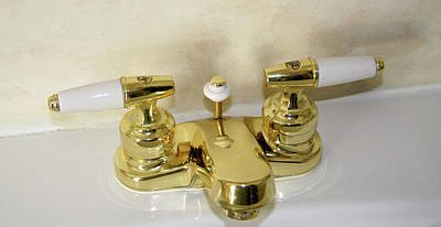 Photograph - Gold And Porcelain Bathroom Faucet Installed On White Sink by Amelia Painter