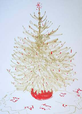 Drawing - Gold And Red Christmas Tree by Mike Jory