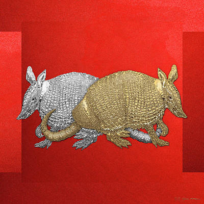 Gold And Silver Armadillo On Red Canvas Original