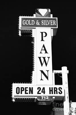 Freemont Street Photograph - Gold And Silver Pawn Sign by Anthony Sacco