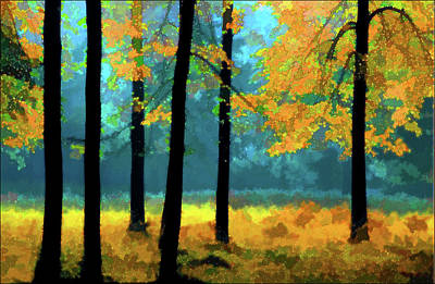 Art Print featuring the photograph Gold Anl Blue Autumn Day by Vladimir Kholostykh