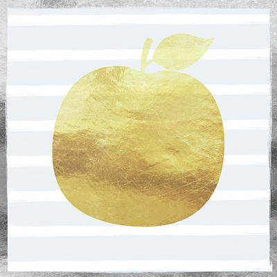 Silver Digital Art - Gold Apple- Art By Linda Woods by Linda Woods