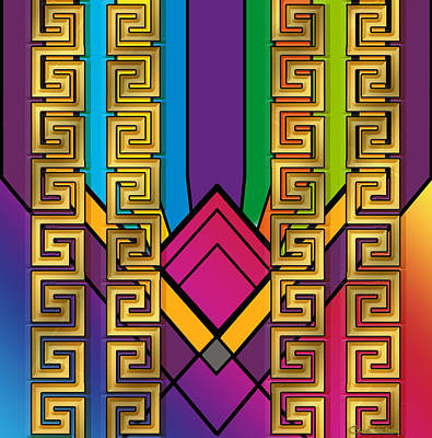 Digital Art - Gold Art Deco Design 3 by Chuck Staley